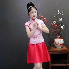 Set áo trung hoa chân váy xòe bé gái