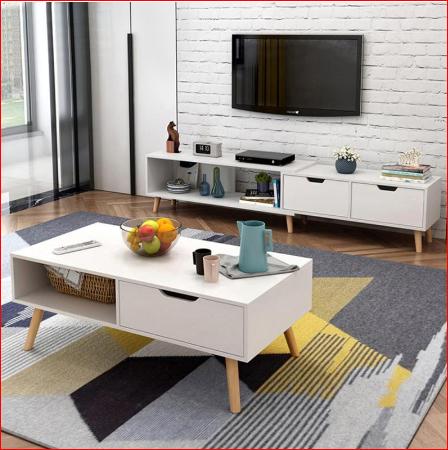 Bộ bàn trà và Kệ tivi bắc âu phòng khách hiện đại – GP81 -GP82