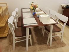 Bộ bàn mango nâu trắng 6 ghế