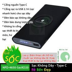 Sạc dự phòng không dây dung lượng 20000mAh chuẩn Qi cho điện thoại thông minh – NPD-4650-SacKD20