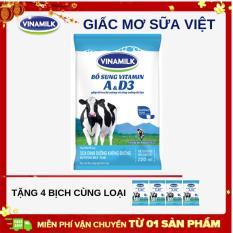 Thùng 48 Bịch Sữa tiệt trùng Vinamilk không đường 220ml +Tặng 4 bịch cùng loại