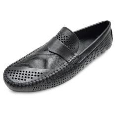Giày Nam Mùa Hè Da Bò Thật Đục Lỗ Siêu Thoáng Siêu Đẹp Ensado MH0116 (Đen)