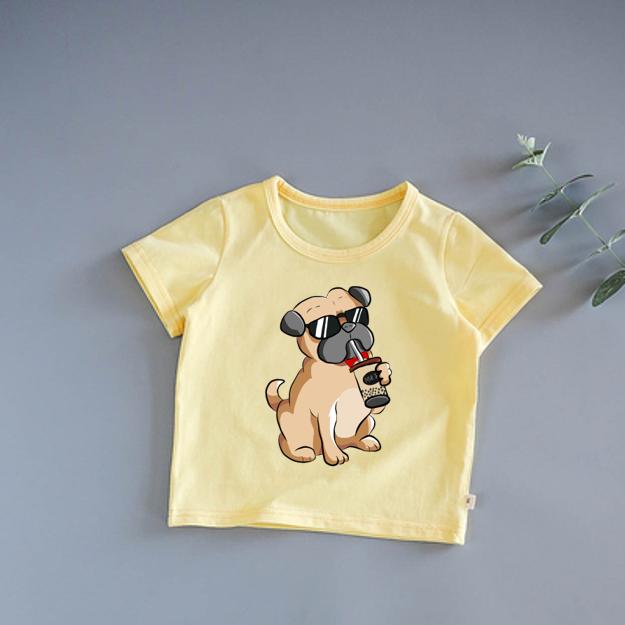 | SIZE TO | áo thun cao cấp bé trai, gái | size 6-45 | mịn mát co dẫn 4 chiều | in hình chó pug