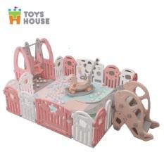 Combo 6 món Quây cũi, xích đu, cầu trượt, ngựa bập bênh kèm thảm trải sàn cho bé Toyshouse – KM126