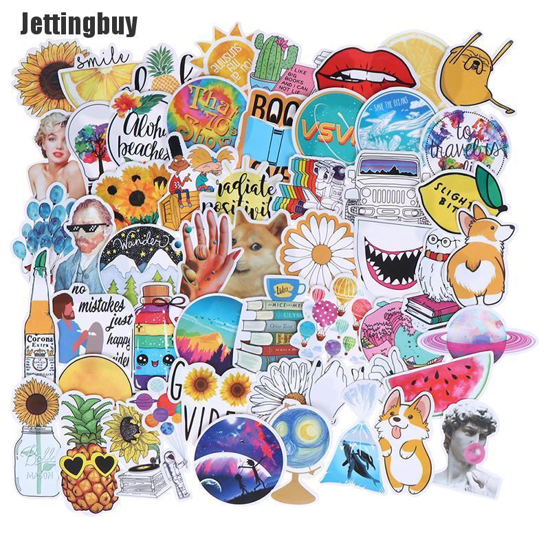 Jettingbuy Kcy 53 Miếng dán sticker nhiều màu sắc kích thước 5-11cm bằng chất liệu PVC không thấm nước thích...
