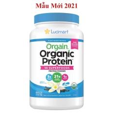 Bột đạm thực vật hữu cơ Orgain Organic Protein Plant Based Protein Powder, hương Vanilla 1.22kg [Hàng Mỹ]