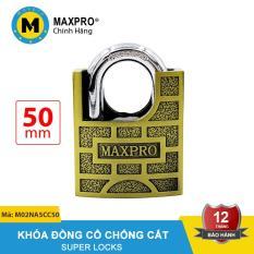 Ổ Khóa Chống Cắt Chìa Nhọn MAXPRO Vàng Ô Vuông Đồng Cổ 50mm – M02NA5CC50