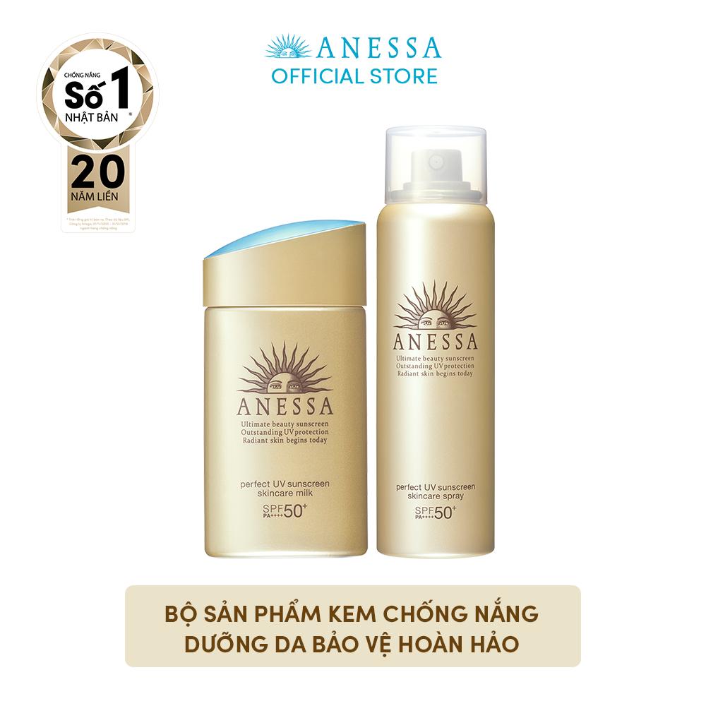 [TỪ 17 – 21.5: TẶNG SỮA RỬA MẶT] Bộ sản phẩm kem chống nắng Anessa dưỡng da bảo vệ hoàn hảo (Anessa UV Gold Milk 60ml + Gold Spray 60g)