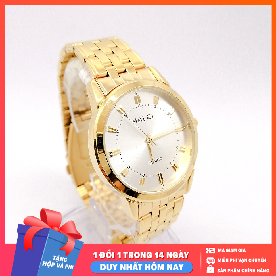 Đồng hồ nam Halei dây vàng sang trọng, lịch lãm, ,chống xước tuyệt đối, sang trọng lịch lãm – dong ho nam Tặng hộp và pin dự phòng – Sam Shop