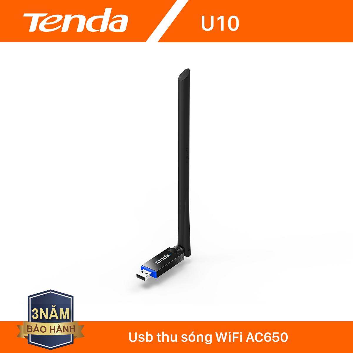 Tenda USB kết nối Wifi U10 chuẩn AC tốc độ 650Mbps – Hãng phân phối chính thức
