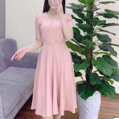 Đầm Xòe Cổ Chữ V Đính Ngọc Dễ Thương Thời Trang Young Lady
