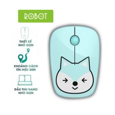 Chuột không dây ROBOT M220 2.4GHz Khoảng cách tín hiệu 20m công nghệ cảm biến quang học 1600DPI l HÀNG CHÍNH HÃNG