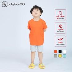 Áo thun bé trai BabyloveGo trơn phong cách basic chất liệu cotton sợi thoáng mát cho bé từ 8kg đến 38kg AT001