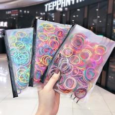Set 100 chun, thun buộc tóc nhiều màu phong cách Hàn quốc cho bé gái D21