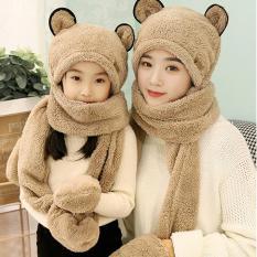 Mũ len kèm khăn lót nỉ siêu ấm, mũ len trẻ em, mũ len nữ, mũ len đẹp, mũ len nữ hàn quốc, mũ len hàn quốc, mũ len mẹ và bé