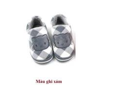 Giày bông mèo họa tiết kẻ caro cho bé yêu