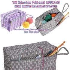 Túi đựng len (vải sọc) kt 29,5x13x16,5cm