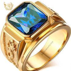Nhẫn Nam Mạ Vàng 24K Rồng Vàng Đính Đá Thạch Anh – Bảo Hành 06 Tháng – Không Phai Màu – Không Dị Ứng