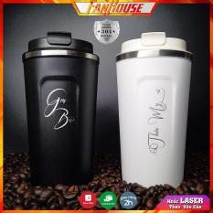 Cốc giữ nhiệt 510ml [FreeShip Max] FanHouse ly cafe inox 304 lưu nhiệt nóng lạnh 12h, bình nước khắc tên theo yêu cầu tặng que cọ