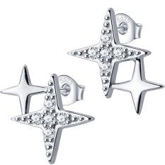Khuyên tai cho nữ kiểu dáng thanh mảnh ngôi sao đôi 4 cánh – Bảo Ngọc Jewelry B2617