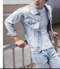 Áo khoác jean nam cao cấp ,chất liệu denim,họa tiết rách, ko phai màu ,hàng chuẩn shop thời trang HUY STRORE88 TB014