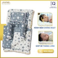 Bộ Nệm Sơ Sinh Khang Home BBS06 – 100% Cotton Thiên Nhiên – Giúp Bé Ngủ Thẳng Lưng Không Cong Vẹo Cột Sống