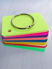 combo 100 thẻ flashcard dạ quang mix 8 màu kèm khoen bìa