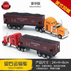 1:65 Hợp Kim Xe Tải Lớn Mỹ Vận Chuyển Xe Ô Tô Mô Hình Bằng Hợp Kim Tải Container Phẳng Mô Hình Mô Phỏng