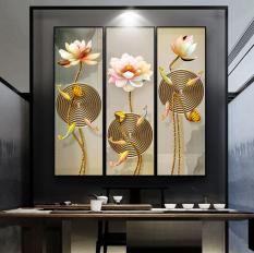 Tranh treo tường hoa sen 3d in trên canvas có khung, trang trí phòng khách, phòng ngủ (#10014308)