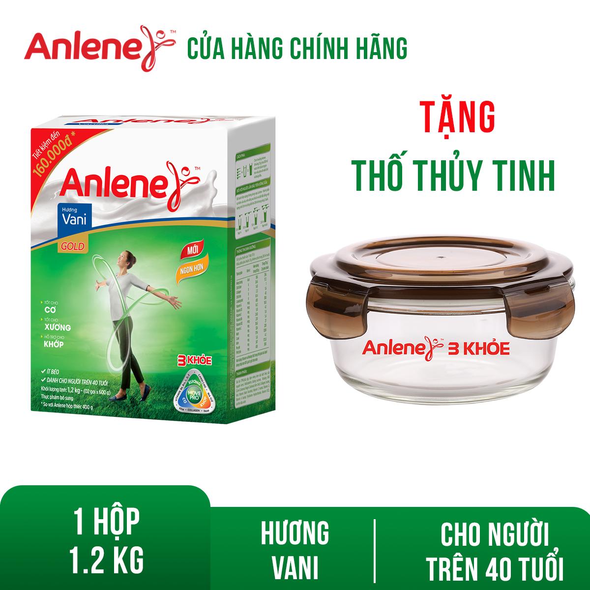[GIẢM 25 ĐƠN 449TR]Hộp sữa bột Anlene Gold Movepro Vanilla 1.2kg Tặng 1 thố thủy tinh