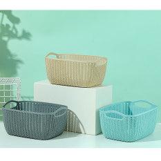 Giỏ đựng đồ Giỏ nhựa đựng đồ Thùng đan đựng đồ tròn loại trung Miniso Giỏ đựng mỹ phẩm Storage Bucket (xanh)