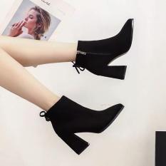Giày bốt nữ nơ sau da lộn – giày boot nữ, boots nữ, giày cao gót nữ, giày cao gót đế vuông, giày cao gót 7p, giày cao gót giá rẻ, giày nữ đen, giày nữ thời trang, giày nữ hàn quốc, giày nữ hot, giày nữ đi học, giày nữ chất