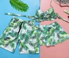 Set đôi đi biển nam nữ chất thun lạnh họa tiết lá xanh mặc đi biển đi bơi đẹp
