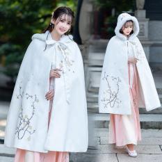 Thu Đông Phong Cách Trung Quốc Phục Cổ Khí Măng Tô Nghề Thêu Dáng Dài Thật Lông Thỏ Liền Mũ Dày Len Cải Thiện Hán Phục Của Phụ Nữ