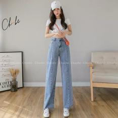 Quần jean nữ Choobe ống rộng lưng cao, bò suông phong cách thời trang Hàn Quốc QJ01