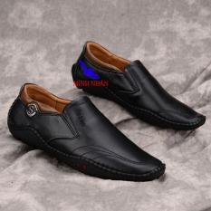 Giày lười nam da bò Giày công sở nam Giày nam cho lái xe ô tô Giày slip on nam da bò in vân cá sấu giày đế bệt đẹp độc đáo hàng hiệu thời trang giá rẻ S-2 màu đen