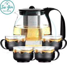 Bình trà – Bộ ấm trà thuỷ tinh có túi lọc INOX dung tích 1000ML + tặng kèm 4 LY THUỶ TINH dung tích 300ML SG-T027