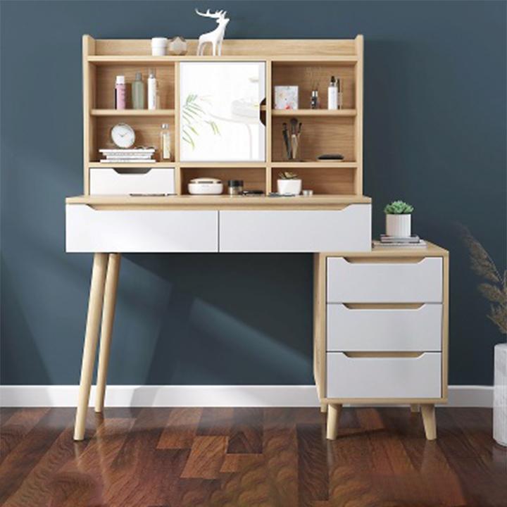 Bàn phấn hiện đại sang trọng kèm tủ 3 ngăn Bàn trang điểm gỗ cao cấp đa năng BAP002