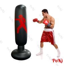 Bao tập đấm Boxing D27 BƠM HƠI 1.6m, bao tập võ PVC tự cân bằng cao cấp – POKI