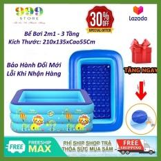 Bể bơi phao 3 tầng kích thước 2M1 ( 210x135xCao55Cm ) cho bé, hàng loại 1 có đáy chống trơn trượt, an toàn khi sử dụng tặng kèm miếng vá bể