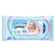 [Quà tặng không bán] Gói khăn ướt Bobby không mùi hương (10 miếng/gói)