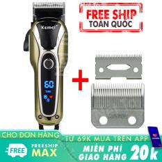 Tông đơ cắt tóc không dây Kemei KM-1990 – tặng kèm bộ lưỡi tông đơ thay thế ChaoBa 808 trị giá 99k