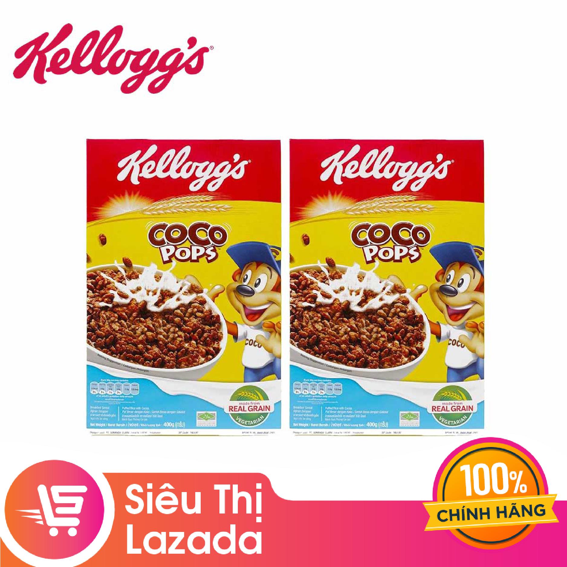 [Siêu thị Lazada] Combo 2 Hộp Ngũ Cốc Ăn Sáng Kelloggs Coco Pops Sô Cô La 400G (2 hộp x 400g) đảm bảo an toàn vệ sinh thực phẩm
