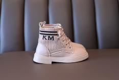 (KÈM ẢNH THẬT – MÀU NÂU)Giày bốt nâu phong cách Hàn Quốc,da kết hợp vải cho bé gái EB006