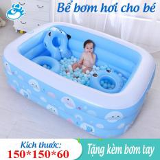 Bể Bơi bể tắm mini , Bể Bơi Trong Nhà cao cấp Cho Trẻ Tập Bơi Bể bơi phao 3 Tầng cỡ lớn- 150 X 150 X 60 cm. loại dày tặng kèm ( Bơm hơi + Miếng Vá ),bảo hành bởi luxurymall