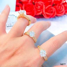 Nhẫn nữ đính đá hột cao dạng mảnh thiết kế thời thượng Orin N677