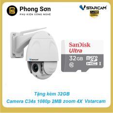 Camera IP không dây Vstarcam C34S Full HD 1080 Zoom 4x (Tặng kèm 32GB Class10 )