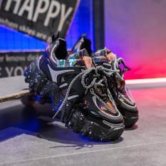 (VIDEO) Giày thể thao nữ độn đế vải bóng 2 dây kép đế vảy sơn ullzang Hàn Quốc 2020