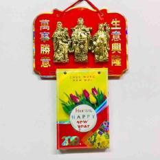 Bộ lịch Kỷ Hợi 2019 – Combo bìa lịch treo tường hình 3 ông PHƯỚC LỘC THỌ vàng và block lịch đại khổ lịch 16 x 24cm