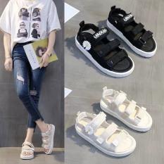 Giày Sandal Nữ/ Dép Quai Hậu Quai Ngang In Chữ Đế Cao Su 3cm cực xinh